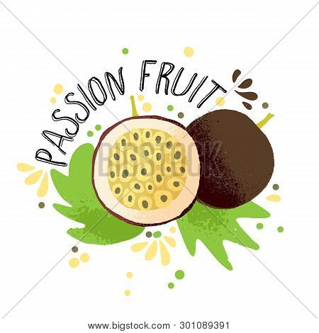 Vector Hand Draw Colored Passion Fruit Illustration. Brown Yellow Passion Fruit With Pulp, Fruits Bo