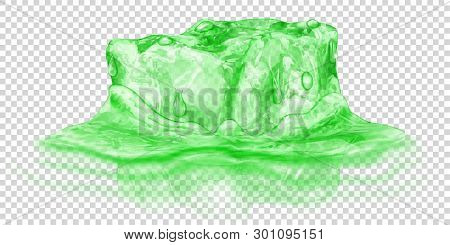 One Big Realistic Translucent Ice Cube In Green Color Half Submerged In Water. Isolated On Transpare