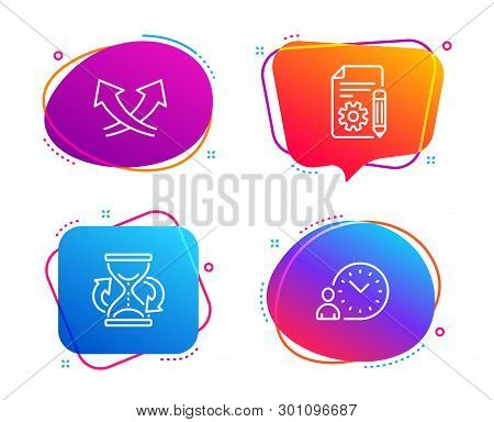 Documentation, Hourglass And Intersection Arrows Icons Simple Set. Time Management Sign. Project, Sa