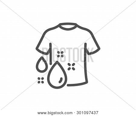 Wash T-shirt Line Icon. Laundry Shirt Sign. Clothing Cleaner Symbol. Quality Design Element. Linear