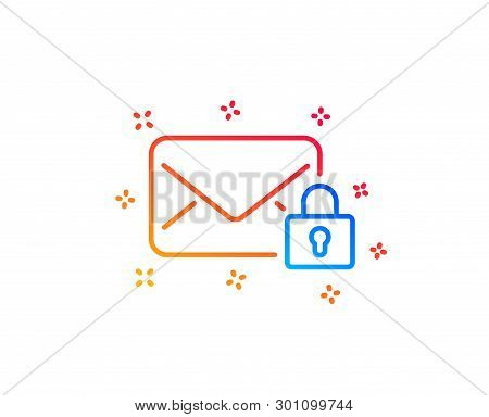 Secure Mail line icon. Private Message correspondence sign. E-mail symbol. Gradient design elements. Linear secure Mail icon. Random shapes. Vector poster
