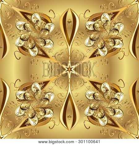 Christmas Golden Snowflake Seamless Pattern. Golden Snowflakes On Yellow And Beige Colors. Winter Sn