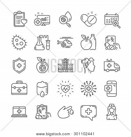 Medical Rx Line Icons. Ambulance, Hospital Assistance, Health Food Diet, Laboratory Tubes Icons. Fir