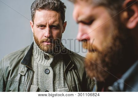 Masculine Men With Well Groomed Beard. Masculinity And Brutal Appearance. Male Hair Care Tips. Barbe
