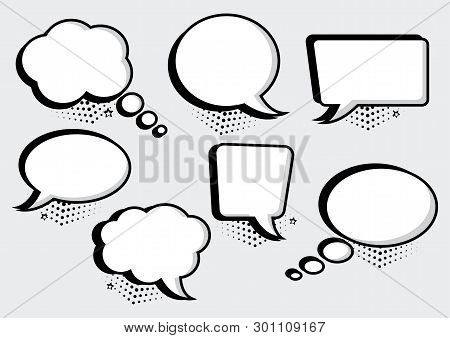 White Speech Bubbles Collection In Pop Art Style. Blank Empty Speech Bubbles For Your Text. Vector I