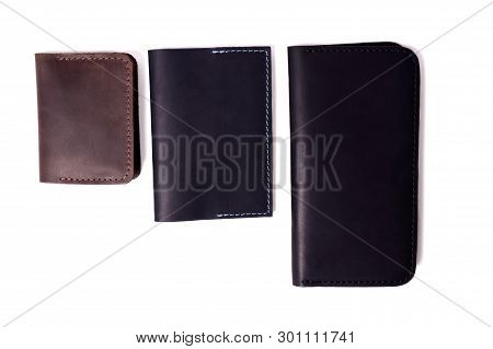 Handmade Brown Cardholder, Black Passport Cover And Purse Isolated On White Background Closeup. Stoc