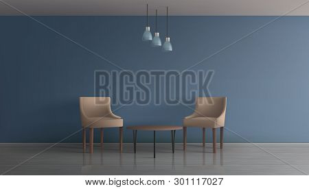 Modern Apartment Living Room, Hotel Lounge, Office Waiting Area Minimalistic Interior 3d Realistic V