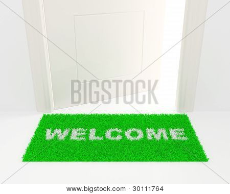 The White Door And Green Rug.