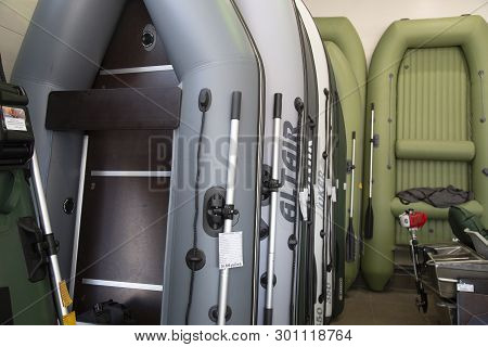Syktyvkar, Komi/ Russia,march 29, 2019/rubber Inflatable Boats For Fishing. Inflatable Boats In The