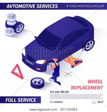 Banner For Advertising Wheel Replacement Automotive Full Service. Master Removes Useless Spare Part