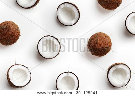 Coconut Pattern On White Background, Top View
