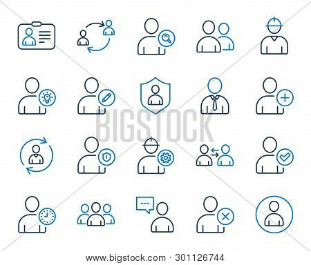 Users Line Icons. Profile, Group Of People And Support Signs. Id Card, Teamwork People And Businessm