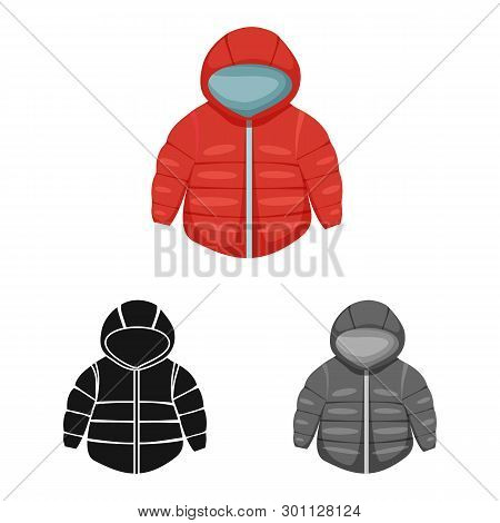 Isolated Object Of Jacket And Winter Sign. Set Of Jacket And Newborn Stock Vector Illustration.