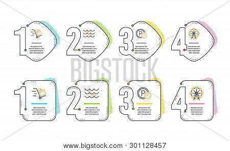 Push Cart, Waves And Parking Time Icons Simple Set. Ferris Wheel Sign. Express Delivery, Water Wave,