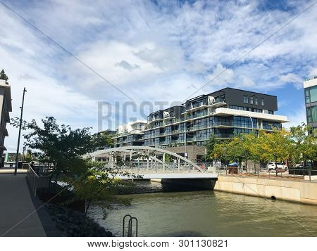 Modern Residential Houses On The Bank Of The Lake