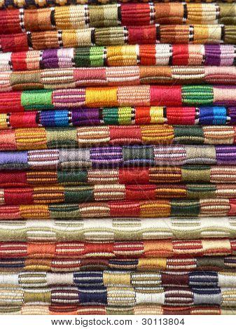 Colourful, hand-woven stripey cloths