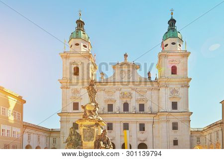 Famous Salzburg Cathedral, Salzburger Dom, At Domplatz In City Center Of Salzburg Land, Austria On S