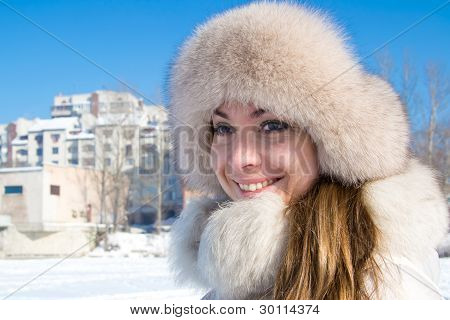 Girl Taking A Walk During A Winter Day