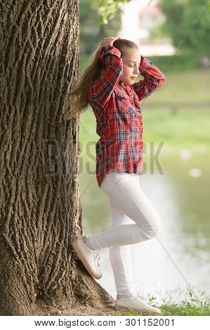 Girl Little Cute Child Enjoy Walk On Windy Day Nature Background. Hairstyles To Wear On Windy Days.