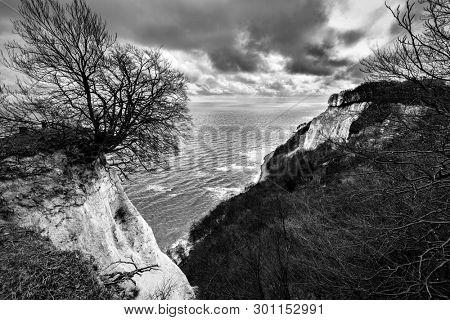 Chalk cliffs in Jasmund National Park, Ruegen island, Germany. Black and white