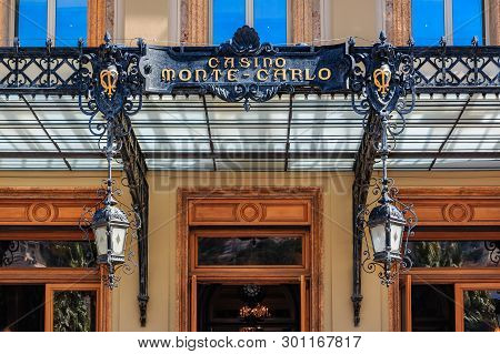 Monte Carlo, Monaco - April 20, 2016: Ornate Facade Details Of Famous Grand Casino Or Monte Carlo Ca