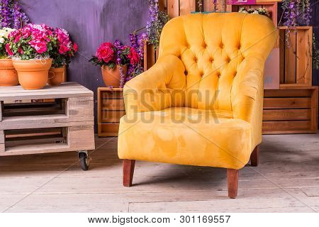 Still Life Of Vintage Chair In Living Room.terrace Lounge With Comfortable Yellow Arm Chair, Divans