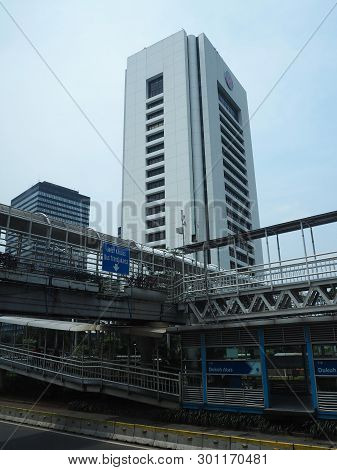 Jakarta, Indonesia - April 17, 2019: Background Of Tall Buildings Of Dukuh Atas District On Jalan Su