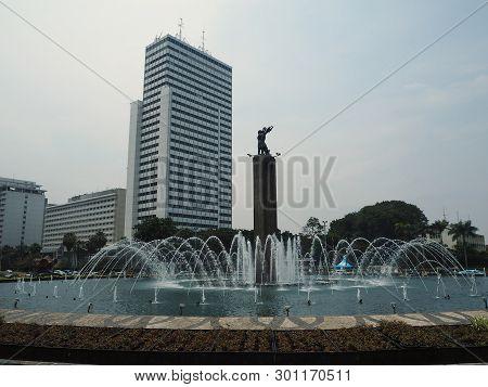 Jakarta, Indonesia - April 17, 2019: The Welcome Monument (patung Selamat Datang) At Bundaran Hi (ho