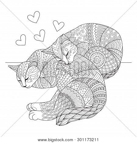 Editable Stroke Width Lines. Cute Two Cats Sleeping For Cards, T Shirt Design, Adult Coloring Book,