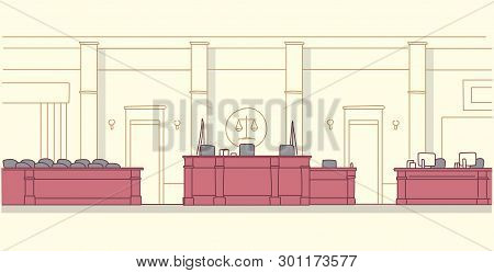 Empty Courtroom With Wooden Furniture Judge And Secretary Workplace Jury Box Seats Modern Courthouse