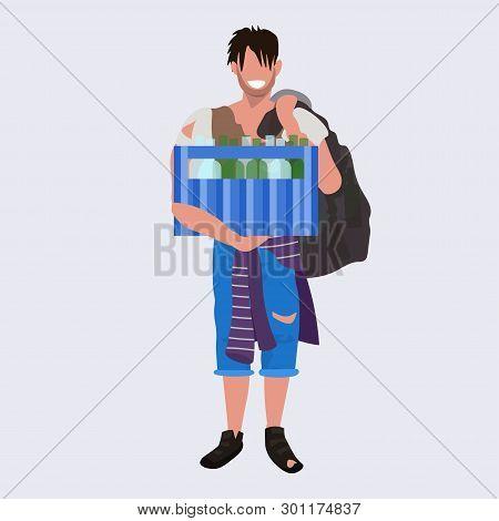 poor man beggar holding box with bottles tramp bum guy begging homeless jobless concept flat full length poster