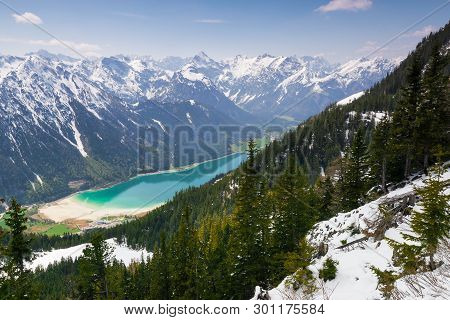 Mountain Range Nature Landscape Over Achensee Lake. Mountain Layers Landscape. Springtime In Mountai