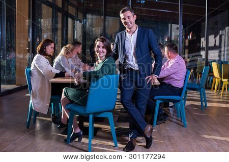 portrait of young Successful Business couple Entrepreneur At Busy startup Office