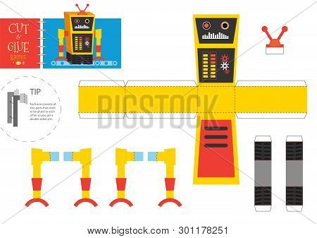 Cut and glue robot toy vector illustration. Paper craft and diy riddle with funny robotic character for preschool kids. Cutout activity for children poster