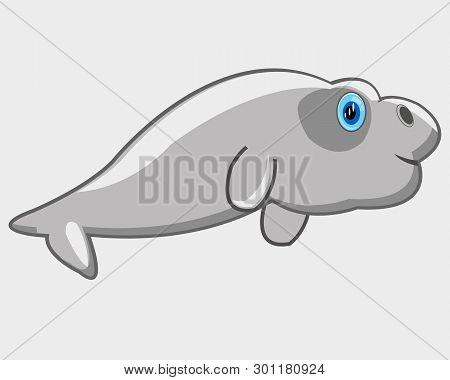 Vector Illustration Baby Drawing Sea Animal Manatee