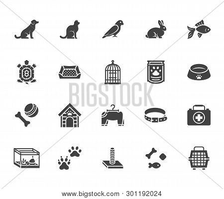 Pet Shop Flat Glyph Icons Set. Dog Carrier, Cat Scratcher, Bird Cage, Rabbit, Fish Aquarium, Pets Pa