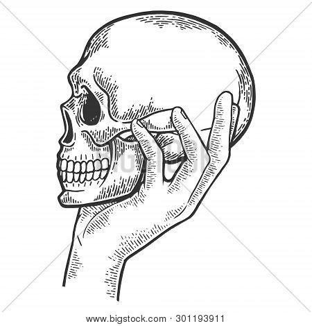 Human Skull In Hand Sketch Engraving Vector Illustration. Scratch Board Style Imitation. Black And W