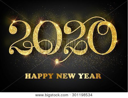 2020 Happy New Year. Gold Numbers Design Of Greeting Card. Gold Shining Pattern. Happy New Year Bann