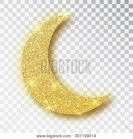 Crescent Islamic For Ramadan Kareem Design Element Isolated. Gold Glitter Moon Vector Icon Of Cresce