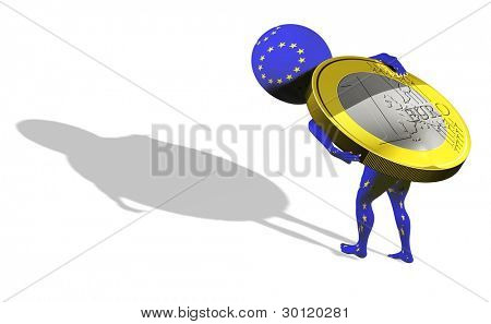 A little 3d guy in UE flag carrying 1 euro poster