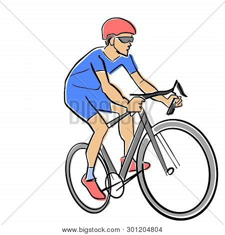 Single Male Bicyclist On Bicycle. Vector Cycling Race Illustration. Colorful Drawing. Isolated Black
