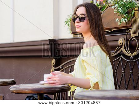 Morning Coffee. Waiting For Date. Good Morning. Breakfast Time. Girl Relax In Cafe. Business Lunch.