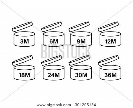 After Opening Use Icons. Expiration Date Symbols. Vector Stock Illustration.