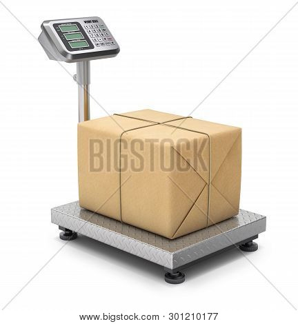 Warehouse Scale With Post Package - 3d Illustration