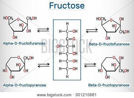 Tautomeric Forms Of D-fructose. Alpha-d-fructofuranose, Beta-d-fructofuranose, Alpha-d-fructopyranos