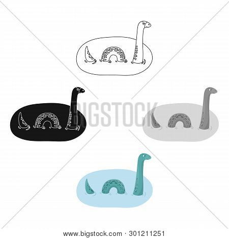 Loch Ness Monster Icon In Cartoon, Black Style Isolated On White Background. Scotland Country Symbol