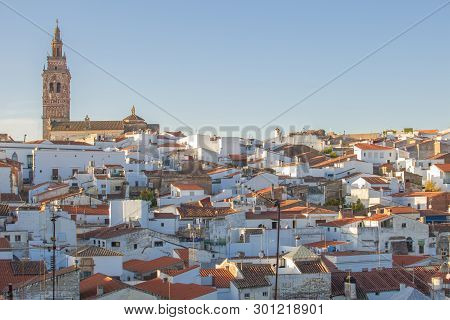 Jerez De Los Caballeros Townscape From Templar Fortress Viewpoint. Church Of San Bartolome Tower At