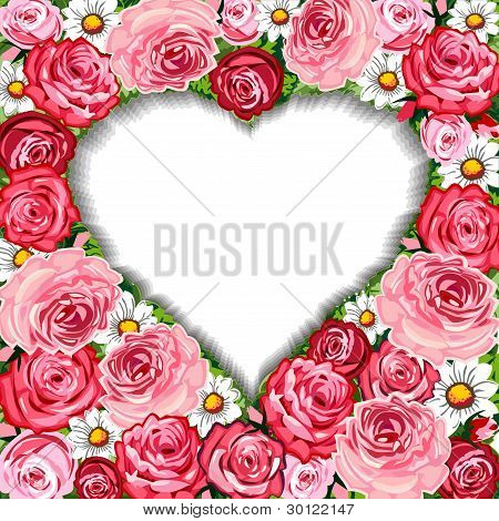 Roses background and heart frame