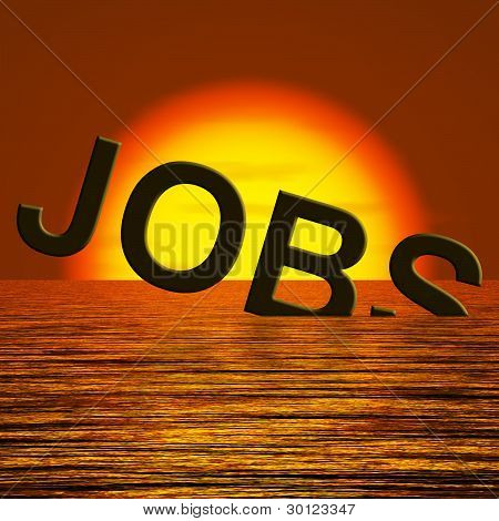 Jobs Word Sinking Showing Layoffs And Unemployment