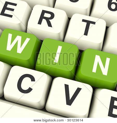 Win Computer Keys Representing Success And Victory